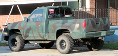Camo GM (Eyellgeteven) Tags: green chevrolet truck sticker gm 4x4 decoration americanflag pickup pickuptruck camo chevy american guns bumpersticker decal redneck camoflage gmc 1990s nra madeinusa americanmade fourwheeldrive confederateflag chev generalmotors stepside camoflaged 12ton generalmotorscorporation nationalrifleassociation shortbed eyellgeteven