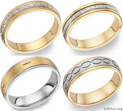 Alianças de casamento em ouro e prata