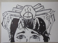 Nightmare (olrichem) Tags: man art ink spider scary tears drawing fear tarantula sharpie cry scared