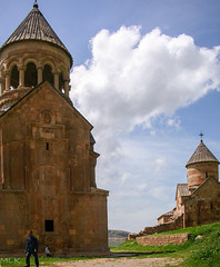 Surp Astvatsatsin church, 1339. On the right: Surp Karapet church, 1227. Noravank, Armenia (Tiigra) Tags: 2006 armenia noravank architecture church sky spire village areni vayotsdzor