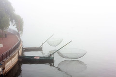 Fishing boats in the mist (pellesten) Tags: morning autumn mist sweden stockholm september sverige fishingboat hst morgon dimma fiskebt norrstrm 2013 strmparterren