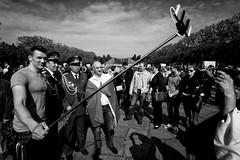 . (Thorsten Strasas) Tags: flower berlin sign germany de deutschland uniform russia military wwii blumen flags victory schild worldwarii rememberance treptow sed nationalism flaggen sieg erinnerung fahnen weltkrieg sowjetischesehrenmal sovietarmy militaer russland niederlage sovietmemorial dielinke schwarzweis sowjetarmee 9mai katjakipping nightwolves hansmodrow nachtwoelfe