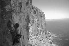 Ben on Rapprochement - 5.10b (speed6ump) Tags: lake minnesota rock head north superior climbing shore palisade mn rapprochement 510b
