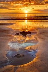 The soul serene (pauldunn52) Tags: rock pool reflection southerndown dunraven beach glamorgan heritage coast wales sunset wet sand