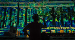 Light Show (elenaleong) Tags: singapore nationalgallery nighttolightfestival facadelights nightscape silhouettes lightshow architecture streetcapture