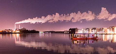 rummelsburg (kadircelep) Tags: berlin streetphotography cityscape cityview seascape waterscape nightscape skyscape sky water factory smoke flue chimney house floating boat purple fume steam panorama reflection reflections rummelsburg