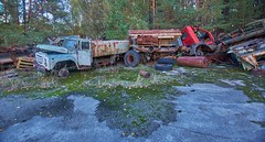 Vehicle Dump-(Chernobyl Exclusion Zone)_2 (Landie_Man) Tags: none vehicle car truck van tank minesweeper lorry radioactive radiation clean up liquidator liquidation chernobyl heros heroes pripyat scrap scrapped junk dumped transport transportation the zone exclusion ussr ccp cccp soviet union ukraine metal harvesting trash dead looted