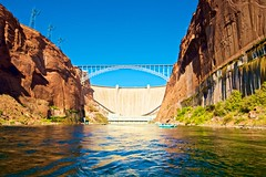 Colorado River below Glen Canyon Dam (Herculeus.) Tags: 2016 archtypebridges az bouldersstonerocks bridges canyon cloudless coloradoriverutaz country dams day fall glencanyondam glencanyondambridge glencanyonnatlra hydroelectricpower landscape oct outdoor outdoors outside page pontoonboat river rockwall shipsboats architectureinpixels 5photosaday water