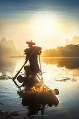 Sunshine on Li River (fesign) Tags: adult bambooraft bird boat chinaeastasia chineseculture clearsky colourimage contrast cormorant fisherman fishing fulllength guilin horizontal karstformation mountain onemanonly oneperson oneseniorman orange outdoors people photography reflection river riverli rurallife senioradult silhouette standing sunlight sunrise threeanimals traditionalclothing twilight water woodmaterial xingping yangshuo