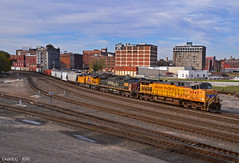 """Northbound Manifest in Kansas City, MO (""""Righteous"""" Grant G.) Tags: up union pacific railroad railway locomotive train trains north northbound sp southern espee kansas city missouri manifest freight ge power"""