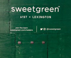 Sign painting on barricade advertising new Sweetgreen location (NYC) (Seamus Liam O'Brien) Tags: art artist seamus liam obrien sign signage lettering signpainting advertisement 61st lexington ny nyc manhattan newyork white green sweetgreen sweetgreens salad fresh font text twitter instagram join team