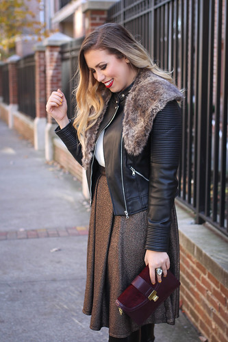 a700aa56a28407 Over the Knee Boots Metallic Midi Skirt Leather Jacket Fur Collar Holiday  Outfit Living After Midnite