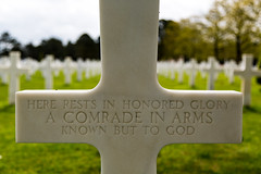 Remembrance & Honor (Jill Clardy) Tags: normandie normandy american cemetery wwii world war ii france battleground memorial tomb unknown soldier cross crucifix remember remembrance white marble graves tombstone military 4b4a9044 explore explored