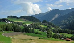 Austrian Landscape (Vee living life to the full) Tags: italy leger travel touring holiday nikond300 heathaze view road sky cloud blue water light evening sunset sunrays sunburst lowlight highlight people travelling sleeping sun castle town village cloudformationsriver