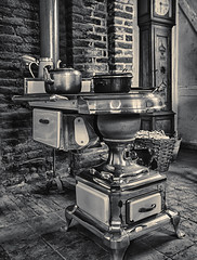 Antique Stove (enneafive) Tags: stove bokrijk steel antique old olympus omd em5 leuvensestoof monochrome platbuiskachel