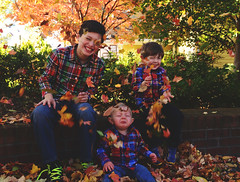 325/366 (moke076) Tags: 2016 365 366 project366 project 365project project365 oneaday photoaday nikon d7000 family boy plaid shirts fall autumn leaves crying baby brothers funny face natural light e w b color bright faces laughing happy smiling
