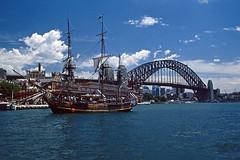 Sailing ship in Sydney (Stefan Fisher) Tags: australia sailing newsouthwales nsw windjammer 35mm oz scanned outdoor downunder minoltaxd7 kodakektachrome