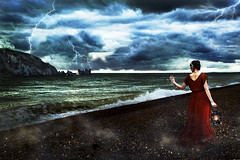 The Tempest (Taylor Daniels Photography) Tags: storm conceptual clouds colors nature model fineart magical magic lights lightning photoshop editing mist beach water ocean sea shore cliffs england