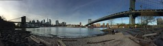 between two bridges. (howard-f) Tags: nyc newyorkcity pano panoramic brooklyn dumbonewyork mainstreetpark manhattanbridge eastriver cityscape urban urbanphotography iphone iphone6pluspano iphoneography iphonepano cityview thebigapple brooklynbridge dumbo noedit sooc nofilter soocjpeg unedited