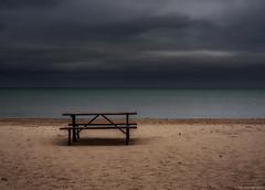 Lake Michigan (piano62) Tags: lakemichigan evanstonil beach lonelytable color sky clouds brooding nikond750 nikon50mm18