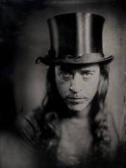 Monsieur L. (Papayaspoint) Tags: portrait man musician friend collodion wetplate largeformat tophat antiques petzval