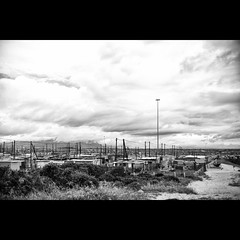 On the road - #142 (Marckovitch) Tags: blackandwhite bw blancoynegro landscape southafrica noiretblanc paysage ontheroad nomansland township inthemiddleofnowhere canonef50mmf14usm afriquedusud canoneos5dmarkii canoneos5dmark2 silverefexpro2 howdoyouhidemillionspeople