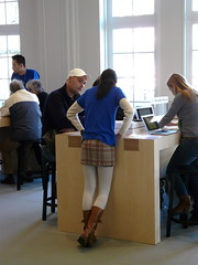 How to work on the I-Mac . (Franc Le Blanc) Tags: people amsterdam lumix imac candid applestore panasonic lessons