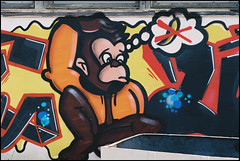 Wuppertal-Vohwinkel, Industriegebiet Scheffelstrae: banana / no banana (wwwuppertal) Tags: streetart film graffiti monkey banana nrw banane wuppertal bergischesland analogphotography nordrheinwestfalen affe vohwinkel nikonf4 nobanana northrhinewestphalia analogefotografie analoguephotography strasenkunst abandonedindustrialsite kodakektar100 industriegebietscheffelstrase afzoom28105mmf3545difmacro stillgelegtesindustriegelnde keinebanane