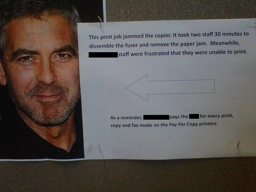 This print job jammed the copier. It took two staff 30 minutes to dissemble [sic] the fuser and remove the paper jam. Meanwhile [REDACTED] staff were frustrated that they were unable to print. As a reminder, [REDACTED] pays the [REDACTED] for every print, copy and fax made on the Pay Per Copy printers.