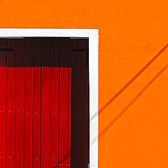 Building detail (Sallyrango) Tags: door red orange abstract dominicanrepublic angles santodomingo anglesanglesangles