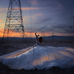 the power play (brookeshaden) Tags: sunset field silhouette metal industrial power powerlines wires fineartphotography flowingfabric brookeshaden texturebylesbrumes