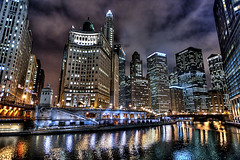 Seeing Lights (Christopher.F Photography) Tags: chicago colors skyline night buildings reflections river nikon cityscape hdr hdri d700