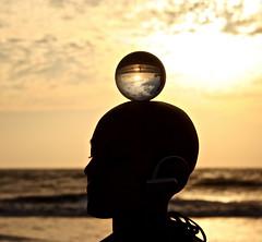 Crystal Ball (Nir Gonen) Tags: travel sea sky woman india ball crystal clear