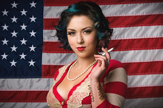 Shiloh for President (JMSF415) Tags: blue red portrait usa white stripes flag american americana shiloh pinup onelight alienbees nikkor50mm14 americanwoman nikond300 jmsf415 jorgemorenophotography