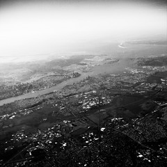 New York City Aerial (jpmacmillan) Tags: nyc newyorkcity blackandwhite bw white ny newyork black brooklyn square airplane harbor newjersey jerseycity downtown manhattan nj aerial midtown ethereal lower lowermanhattan newyorkharbor