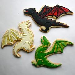 Daenerys' Dragons (JesicakesBaking) Tags: cookies baking fantasy decorating sugarcookies gameofthrones asongoficeandfire drogon targaryen decorativecookies asoiaf rhaegal viserion jesicakes