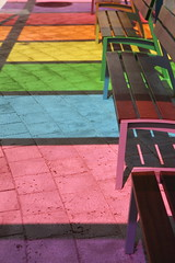 Rainbow Benches (Been Around) Tags: colour colors bench austria sterreich spring europa europe may eu bank mai benches sr bushaltestelle europeanunion bunt autriche austrian bnke farben frhling aut steyr o  upperaustria 2013 a hauteautriche dietach concordians bersterreich thisphotorocks expressyourselfaward bauimage dietachbeisteyr