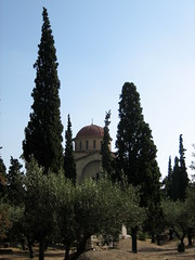 038 - Church & Cyprus trees (Scott Shetrone) Tags: plants other graveyards events churches places athens greece 5th kerameikos anniversaries cyprustree