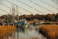 Shem Creek Shrimp Boats (Richard Ellis Photography) Tags: sunset usa sc nature water horizontal creek boats outside evening harbor boat natural mountpleasant southcarolina shrimp nobody nopeople charleston marsh tidal shem mtpleasant lowcountry