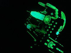 neon-shifter_334 (faktor0a) Tags: light black robot neon lego space technic fluorescent blacklight future gears ultraviolet mecha shifter moc schwarzlicht ultraviolett transneon faktor0a