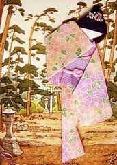 ATC1245 - Ancient shrine, modern geisha 2 (#300 on EXPLORE, 14 July 2013) (tengds) Tags: pink flowers trees brown green atc shrine lavender lilac geisha kimono obi origamipaper papercraft japanesepaper ningyo handmadecard chiyogami japanesepaperdoll japanesedesignprint origamidoll nailartsticker tengds japaneselinenlikepaper