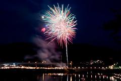 Fireworks at ozu Suitengu #1 (SYU*2) Tags: light summer moon color reflection water colors beautiful night river nikon fireworks moonlight brige d800 1424 nikoor 1424mm