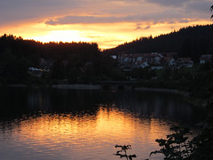 Sunset (Habub3) Tags: city travel sunset lake holiday canon germany landscape deutschland see search reisen europa europe urlaub powershot stadt landschaft reflexion schwarzwald blackforest vacanze schluchsee g12 spiegelungen serach 2013 habub3 mygearandme