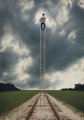 200/365 - A Place to Sit and Read (loganzillmer) Tags: traintracks surreal ladder fineartphotography surrealphotography conceptualphotography conceptualimage
