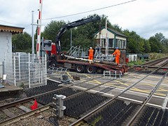 Semaphores for Scrap (wwatfam) Tags: england metal crossing cheshire mechanical britain shrewsbury crewe level scrap signal semaphore signalbox signalling wrenbury resignalling