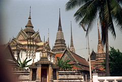 19-395 (ndpa / s. lundeen, archivist) Tags: roof color building tower film rooftop architecture 35mm buildings thailand temple spires bangkok buddhist nick towers spire tiles palmtree thai 1970s ornate 1972 19 1973 watpho finial dewolf templeoftherecliningbuddha finials nickdewolf coloredtiles photographbynickdewolf reel19