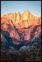 Mt Whitney at Dawn (jk walser) Tags: alabamahills california d800e dawn highsierraworkshops jkwalser mtwhitney sierramountains workshop rocks sunrise
