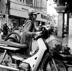 Parking my bike (mteckes) Tags: hasselblad 500c bw kodak kodaktrix trix ziessplanar80mm28 zeiss saigon hochiminhcity vietnam film blackandwhite monochrome