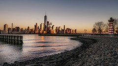 Sunset from New Jersey (karinavera) Tags: travel sonya7r2 sunset wtc view water manhattan newjersey cityscape city
