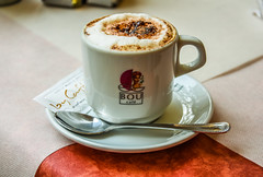 Caf (StevePilbrow) Tags: cappuccino coffee cafe barcelona catalunya spain spoon milk sugar las ramblas nikon d7200 nikkor 18105mm october 2016 drink hot